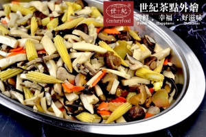 玉米筍炒百菇 More mushrooms fried baby corn